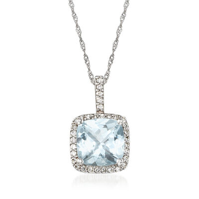 C. 1990 Vintage 2.75 Carat Aquamarine and .40 ct. t.w. Diamond Pendant Necklace in 14kt White Gold, , default