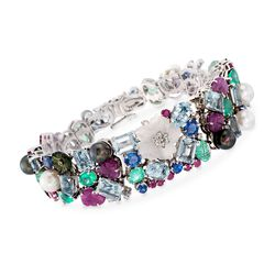 "C. 2000 Vintage 36.10 ct. t.w. Multi-Gemstone Bracelet With Cultured Pearls in 18kt White Gold. 7.5"", , default"