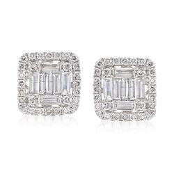 1.10 ct. t.w. Diamond Earrings in 18kt White Gold, , default