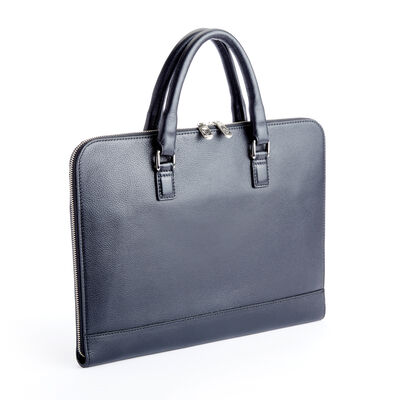 "Royce ""Executive Office"" Black Leather Laptop Brief"