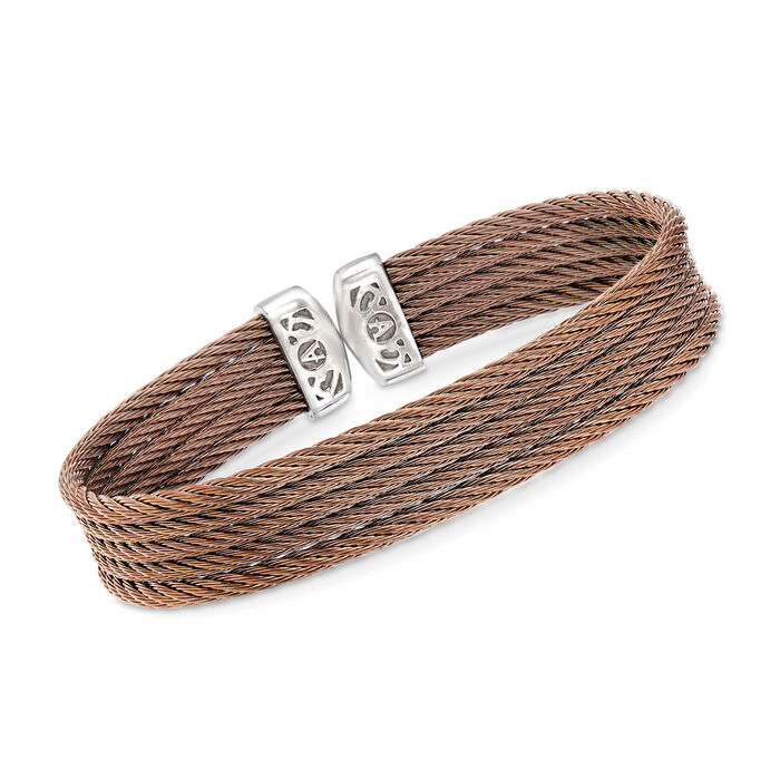 "ALOR ""Classique"" Bronze Multi-Strand Stainless Steel Cable Cuff. 7"", , default"