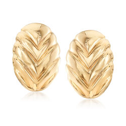 Italian 14kt Yellow Gold Leaf Clip-On Earrings, , default