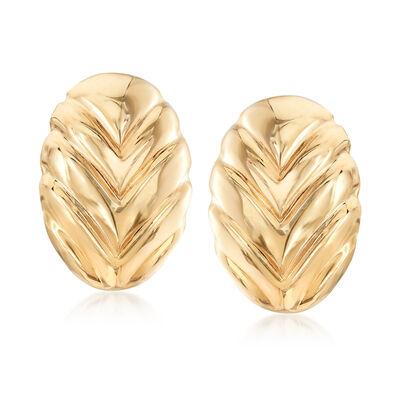 Italian 14kt Yellow Gold Leaf Clip-On Earrings, , default
