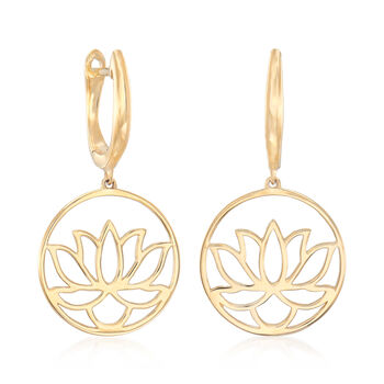 14kt Yellow Gold Lotus Blossom Drop Earrings, , default