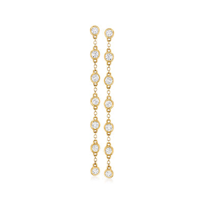 1.00 ct. t.w. Diamond Bezel-Set Linear Drop Earrings in 14kt Yellow Gold, , default