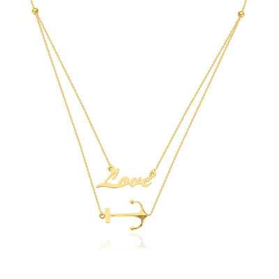 """14kt Yellow Gold """"Love"""" and Anchor Layered Necklace, , default"""