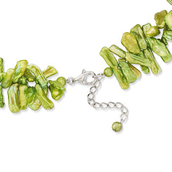"Green Cultured Baroque Biwa Pearl Necklace in Sterling Silver. 18.75"", , default"