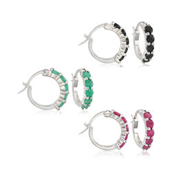 2.60 ct. t.w. Multi-Stone and Sterling Silver Jewelry Set: Three Pairs of Huggie Hoop Earrings, , default