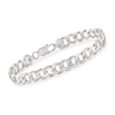 Men's 8.2mm Sterling Silver Curb Link Bracelet, , default