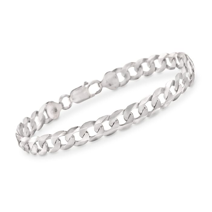 "Men's 8.2mm Sterling Silver Curb Link Bracelet. 8.5"", , default"