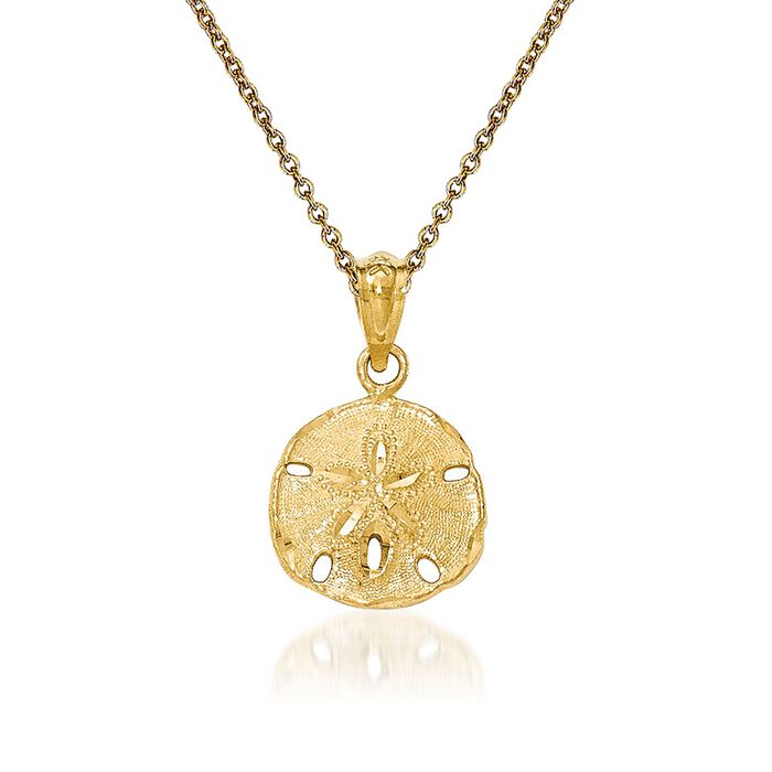 14kt Yellow Gold Sand Dollar Pendant Necklace. 18""