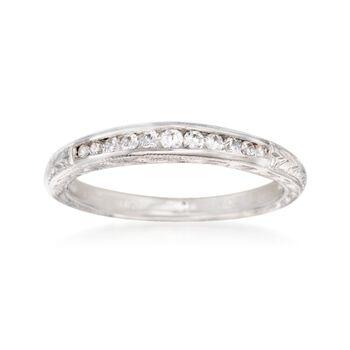 Gabriel Designs .15 ct. t.w. Diamond Engraved Wedding Ring in 14kt White Gold, , default