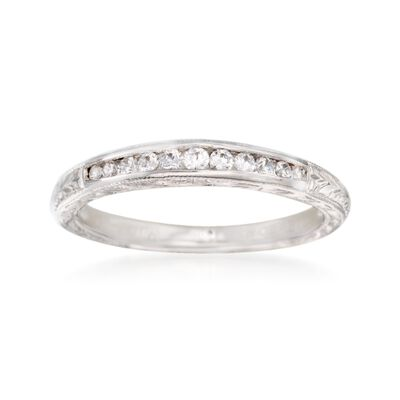 Gabriel Designs .15 ct. t.w. Diamond Engraved Wedding Ring in 14kt White Gold, , default