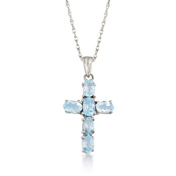 "1.60 ct. t.w. Blue Topaz Cross Pendant Necklace in Sterling Silver. 18"", , default"