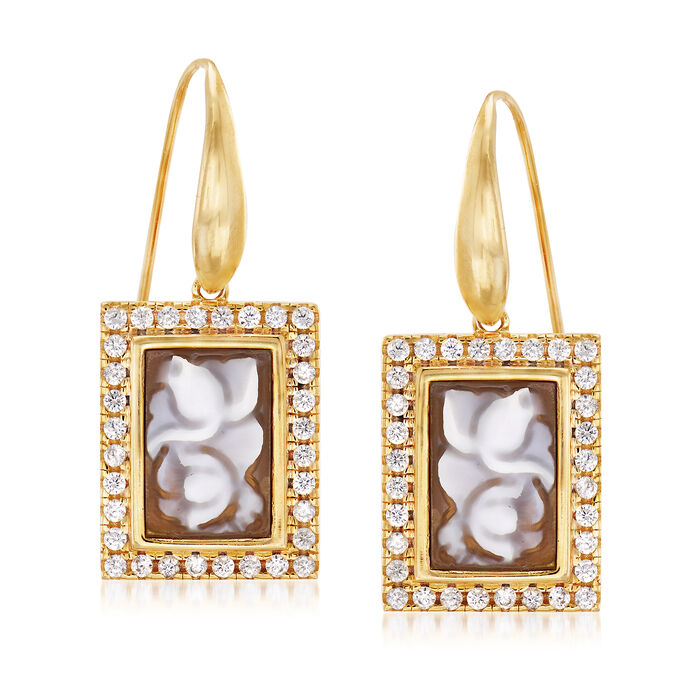 Italian Shell Flower Cameo and .95 ct. t.w. CZ Drop Earrings in 18kt Yellow Gold Over Sterling Silver, , default