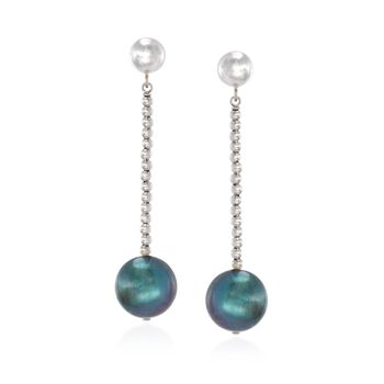 10-11mm Peacock Cultured Pearl and Sterling Silver Bead Drop Earrings, , default