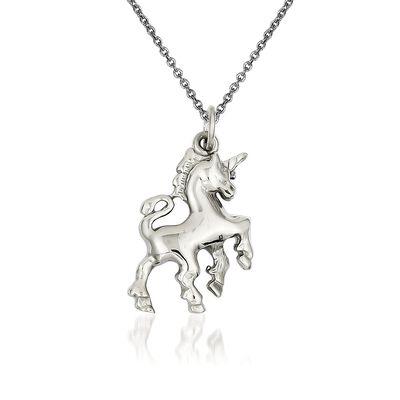 """14kt White Gold Polished Unicorn Charm Necklace. 18"""""""