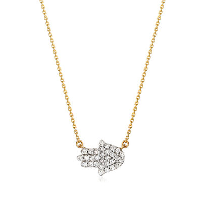 .12 ct. t.w. Diamond Hamsa Hand Necklace in 14kt Yellow Gold