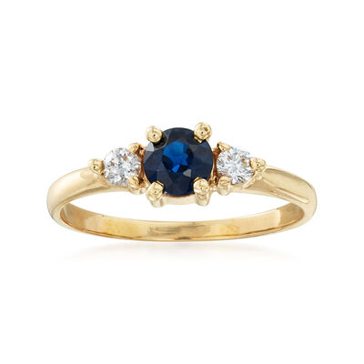 C. 1980 Vintage .50 Carat Sapphire and .15 ct. t.w. Diamond Ring in 14kt Yellow Gold, , default