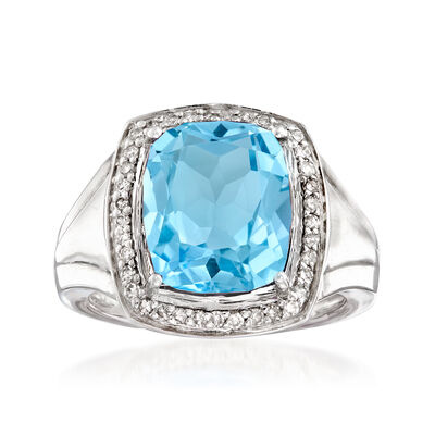 4.70 Carat Sky Blue Topaz and .24 ct. t.w. Diamond Ring in Sterling Silver