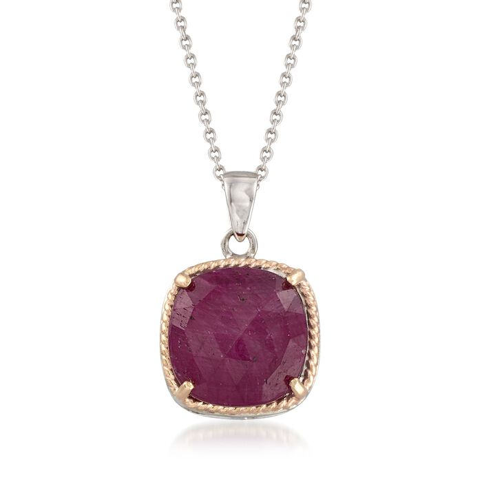 """6.50 Carat Ruby Pendant Necklace in Sterling and 14kt Gold. 18"""""""