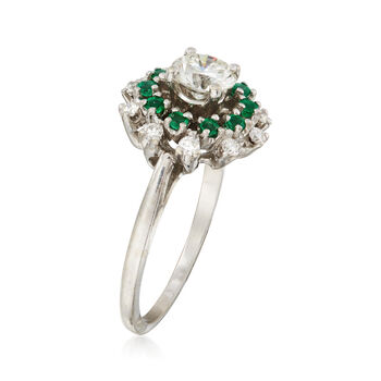 C. 1990 Vintage .85 ct. t.w. Diamond and .30 ct. t.w. Emerald Ring in 14kt White Gold. Size 6
