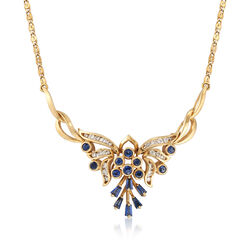 """C. 1980 Vintage 1.60 ct. t.w. Sapphire and .50 ct. t.w. Diamond Butterfly Necklace in 18kt Yellow Gold. 15.5"""", , default"""