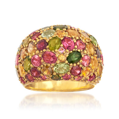 6.02 ct. t.w. Multicolor Tourmaline Dome Ring in 18kt Yellow Gold Over Sterling Silver, , default