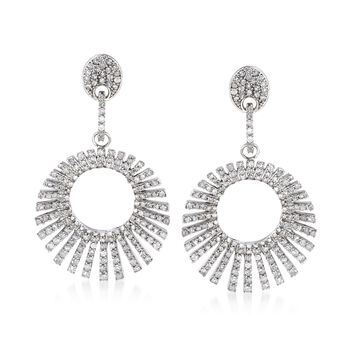 2.00 ct. t.w. Diamond Open Circle Drop Earrings in Sterling Silver, , default