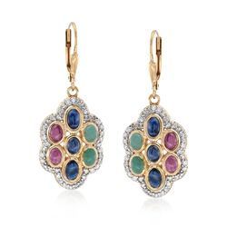 4.20 ct. t.w. Multi-Stone and .96 ct. t.w. Diamond Earrings in 18kt Gold Over Sterling. , , default