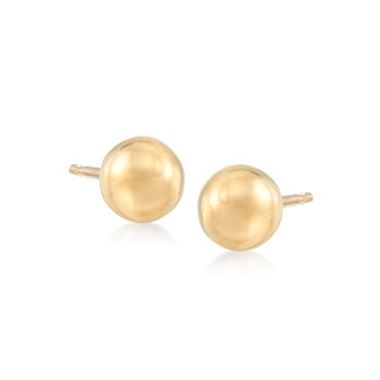 Italian 4-8mm 18kt Yellow Gold Ball Stud Jewelry Set: Three Pairs of Earrings