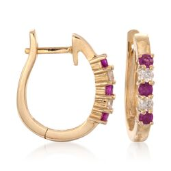 ".25 ct. t.w. Ruby and .10 ct. t.w. Diamond Hoop Earrings in 14kt Yellow Gold. 1/2"", , default"