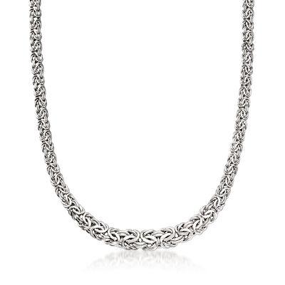 Italian 14kt White Gold Graduated Byzantine Necklace, , default