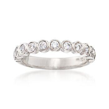 .50 ct. t.w. Bezel-Set Diamond Wedding Ring in 14kt White Gold, , default