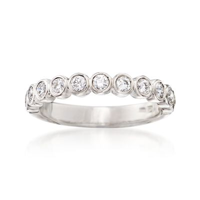 .50 ct. t.w. Bezel-Set Diamond Wedding Ring in 14kt White Gold, , default
