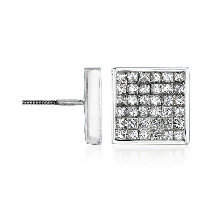 C. 1990 Vintage 3.60 ct. t.w. Diamond Square Earrings in 14kt White Gold