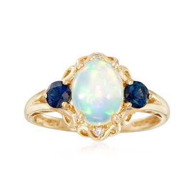 Opal and .50 ct. t.w. Sapphire Ring with Diamond Accents in 14kt Yellow Gold, , default