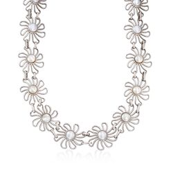 "Italian 10mm Cultured Pearl Daisy Statement Necklace in Sterling Silver. 20"", , default"
