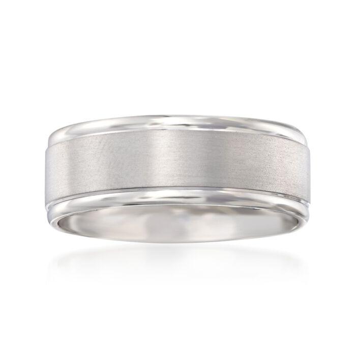 Men's 8mm 14kt White Gold Brushed Wedding Ring, , default