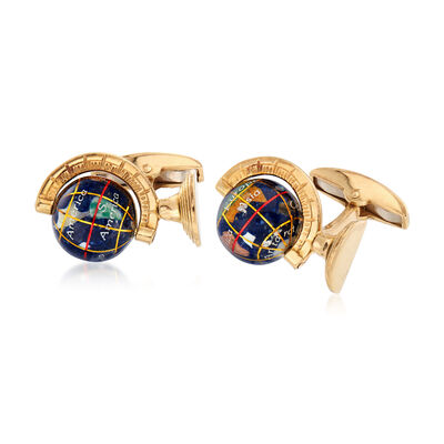 C. 2001 Vintage Men's British Hallmark Globe Cuff Links in 18kt Yellow Gold , , default