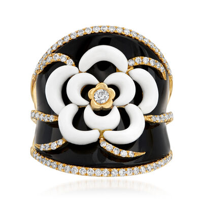 Black Onyx, White Agate and .70 ct. t.w. Diamond Flower Ring in 18kt Yellow Gold, , default