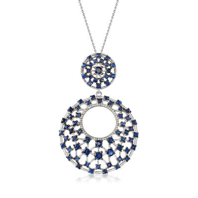 3.70 ct. t.w. Sapphire and .20 ct. t.w. White Zircon Openwork Pendant Necklace in Sterling Silver, , default