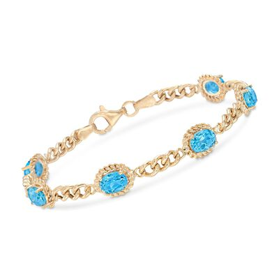 5.75 ct. t.w. Blue Topaz Link Bracelet in 18kt Gold Over Sterling Silver, , default