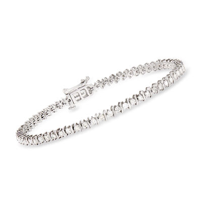 2.00 ct. t.w. Diamond S-Link Tennis Bracelet in 14kt White Gold, , default