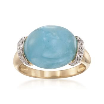 Oval Cabochon Aquamarine Ring With Diamond Accents in 14kt Yellow Gold, , default