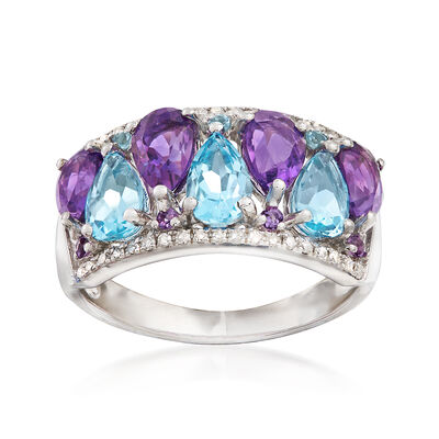 3.63 ct. t.w. Amethyst and Blue Topaz Ring with .16 ct. t.w. Diamonds in 14kt White Gold, , default