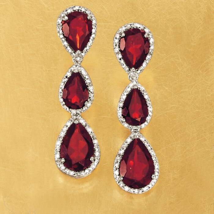 13.85 ct. t.w. Garnet Linear Earrings with Diamonds in Sterling Silver