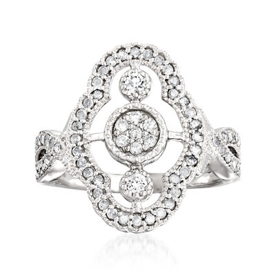 .50 ct. t.w. Pave Diamond Vintage-Style Ring in Sterling Silver, , default