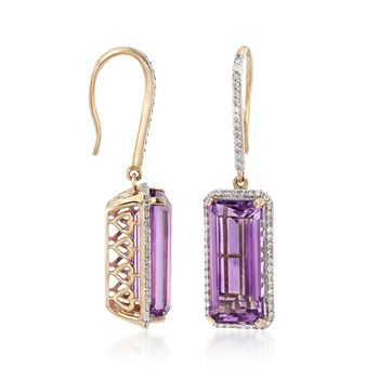 14.00 ct. t.w. Amethyst and .62 ct. t.w. Diamond Drop Earrings in 14kt Yellow Gold , , default
