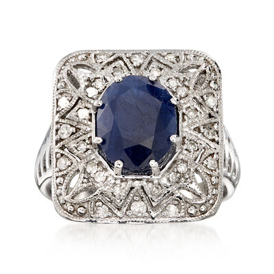 3.10 Carat Sapphire and .26 ct. t.w. Diamond Openwork Ring in Sterling Silver